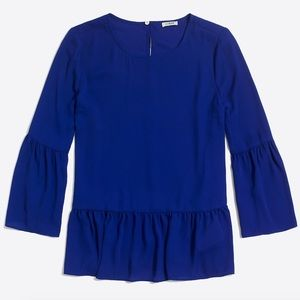J. Crew Factory Blue Bell-Sleeve Peplum Top.